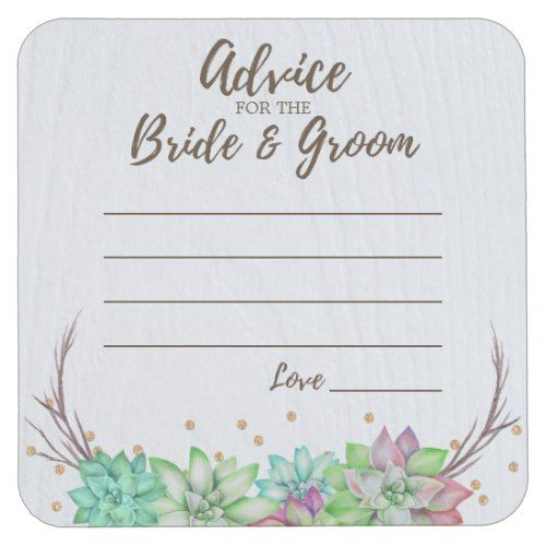 Rustic Floral Succulent Advice for Bride & Groom Square Paper Coaster