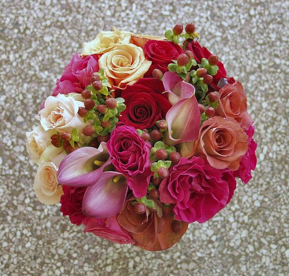 Pink Rose, Calla Lilies, and Berries