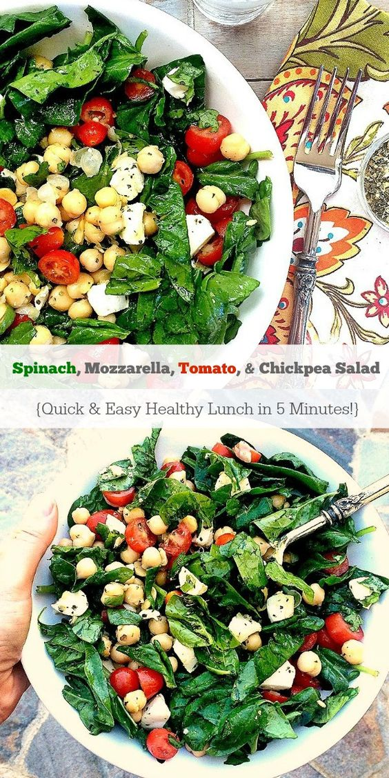This Spinach, Mozzarella, Tomato & Chickpea Salad is a quick, easy, healthy lunch you can whip up in 5 minutes! {gluten-free, vegetarian}