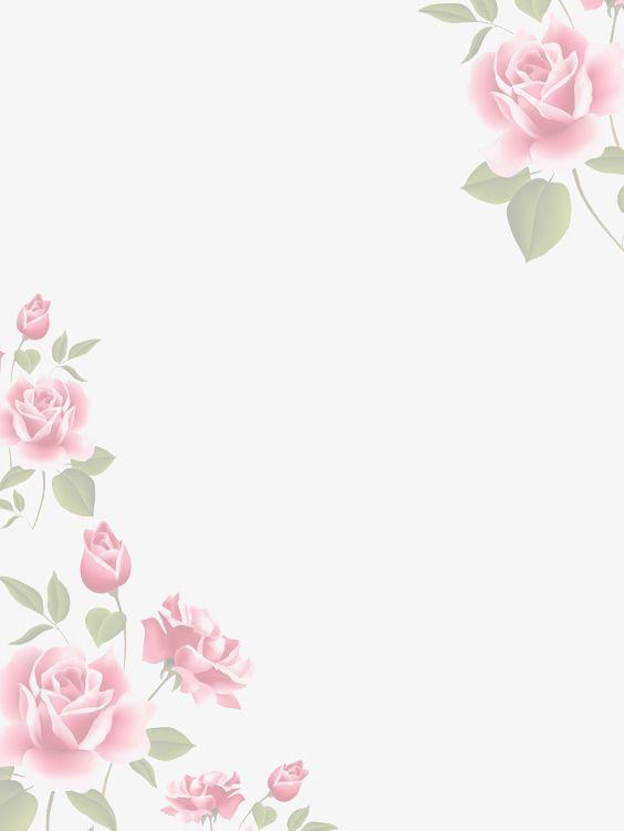 Pink Watercolor Flower Borders Kreatif Karangan Bunga Dan