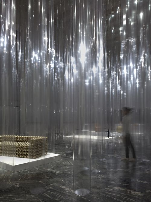 Yii Exhibition Design at Triennale / by nendo - Clear, plastic columns as space separations - LOVE:
