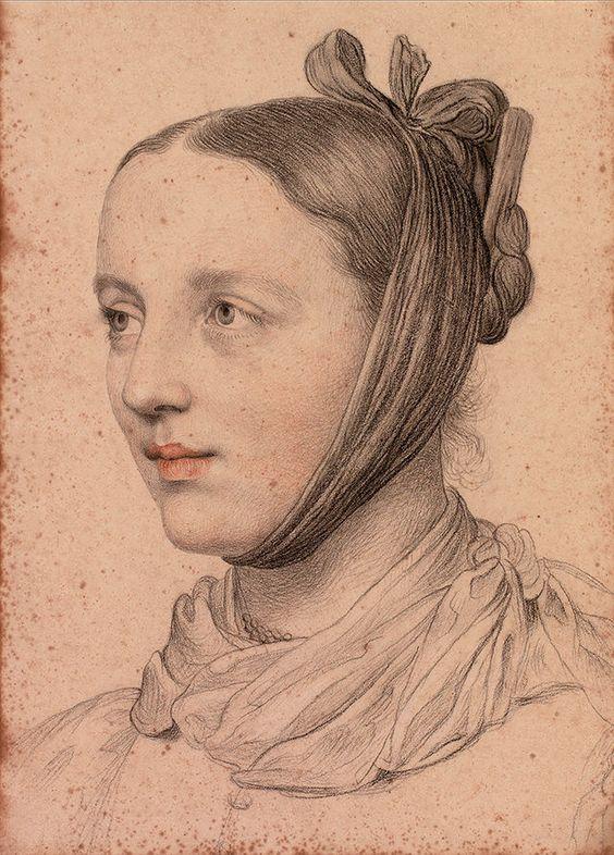 Marie Ellenrieder Portrait einer jungen Frau mit gezopfter Frisur und Kinnschal.jpg