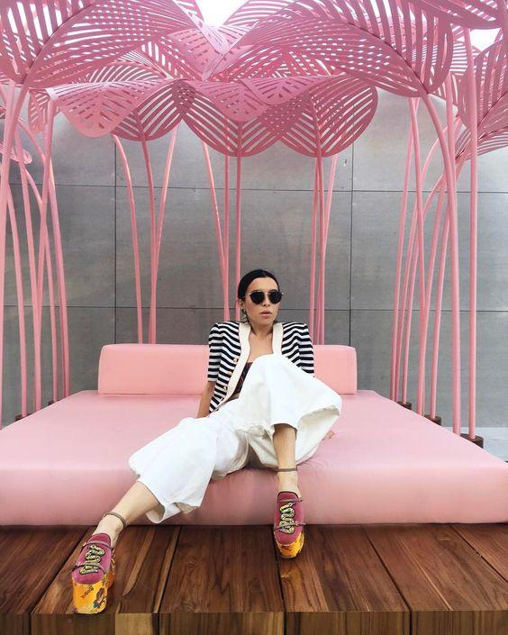 Aureta n Milan wearing Gucci shoes