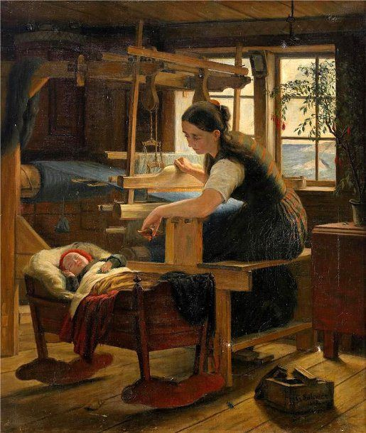 Cottage Interior With Woman At The Cradle-Geskel Saloman (1821 – 1902, Swedish)