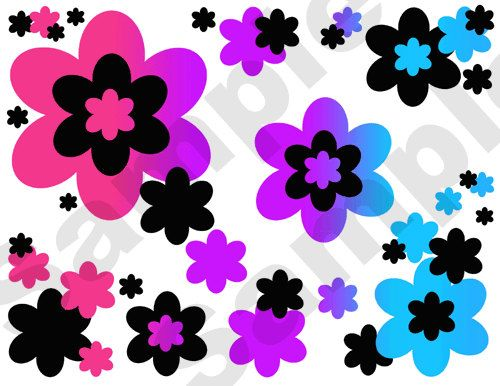 Rainbow Flower Wallpaper Border Decals for teen girl or kids room decor 4  Colors to. Girls Bedroom Wallpaper Border
