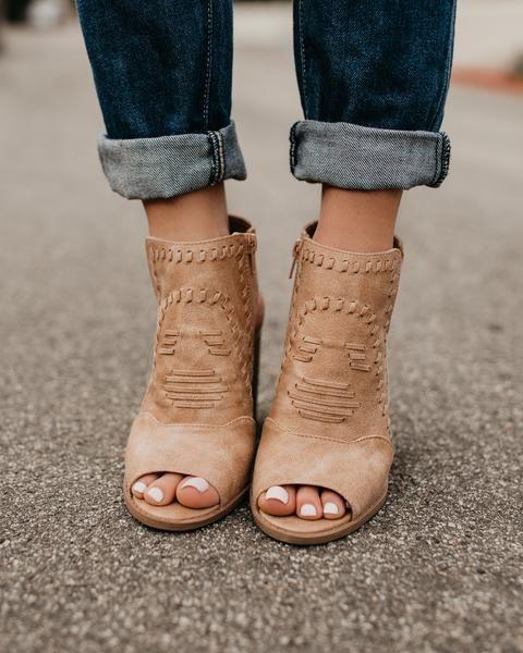 38941bc13a8b1a Shayla Peep Toe Bootie - Tan
