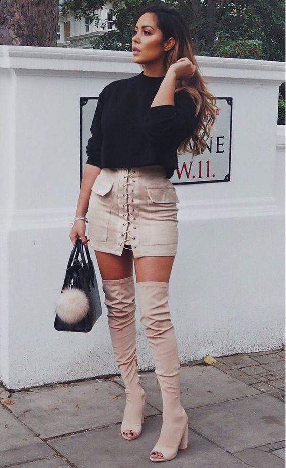 Pocket Tight Suede Lace Up Skirt: