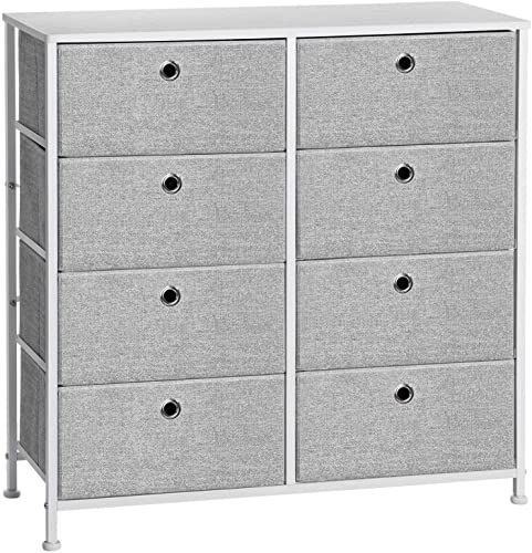 New Songmics 4 Tier Storage Dresser 8 Easy Pull Fabric Drawers Wooden Tabletop Closets Nursery Dorm Room Light Grey White Ults24w Online Shopping Portable Baby Cribs Ceiling Storage Rack Overhead Garage Storage