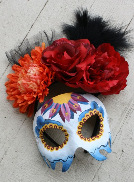 Custom handmade mask and headdress inspired by James Bond Spectre - Day of the Dead / Día de los Muertos - by mask artist Amanda Carroll of ArtisanMaskers