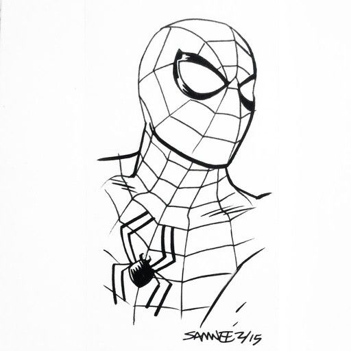 Spider-Man black and white | Drawing - Spiderman, Spider ...