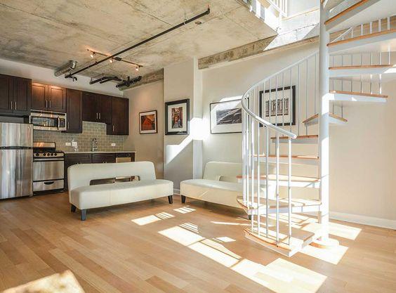 The first level interior of our live/work units at AMLI Evanston, luxury Evanston apartment rentals.