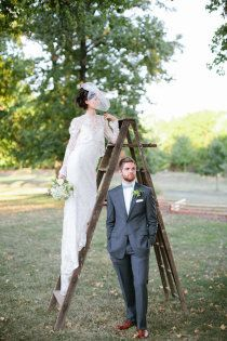 love this pose, with the bride on a #vintage ladder