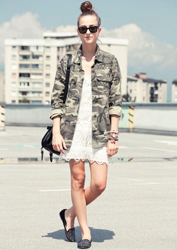 street-style-vestido-renda-e-camisa-militar - ROMANTICO: