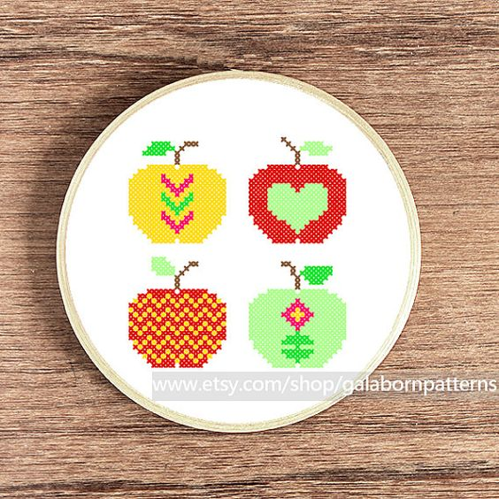 Four apples Counted cross stitch pattern PDF von galabornpatterns
