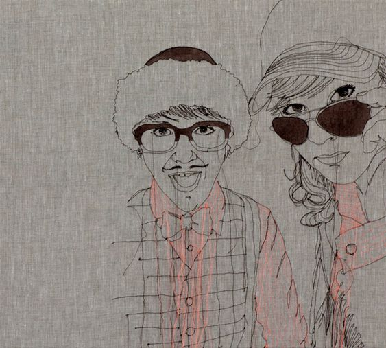 Embroidered portraits by Nike Schroeder