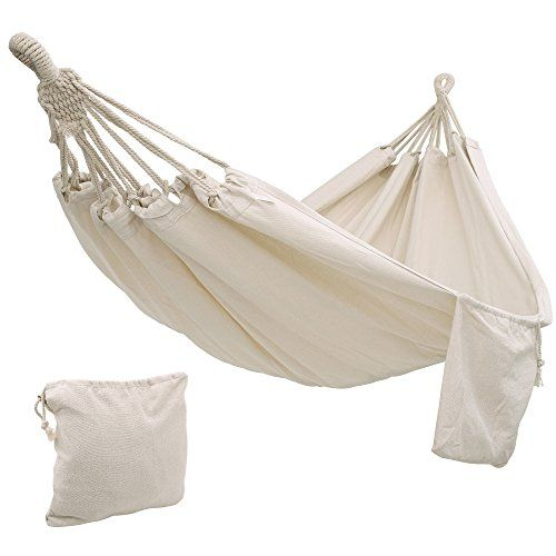 Songmics Cotton Hammock Swing Bed For Patio Porch Garden Or Backyard Lounging Heavy Duty Lightweight And Portable Indoor Outdoor Natural White Ugdc15 Hammock Swing Bed Backyard Hammock Hammock Swing