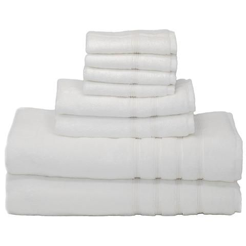 8 Piece Oversized Bath Bundle Set White Bamboo Towels Bath