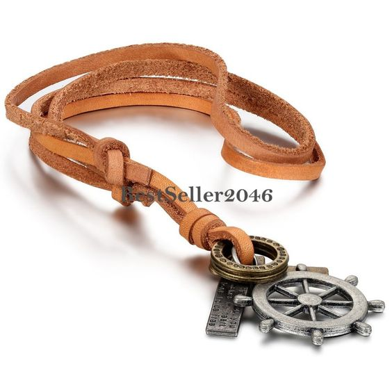 Leder Halskette Silber Gold Piraten Rudder Kreuz Ring Schrift Tag Anhänger