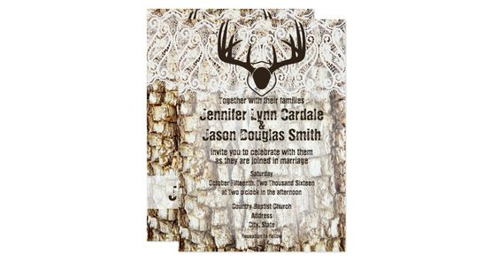 Rustic Country Camo Wedding Invitations featuring a camouflage background of tree bark and mounted deer antlers on top of a printed lace embellishment.  The lace is just a printed design.  The backside has the same camo tree bark background and the bride and groom's names on a transparent stripe.  It also has a printed lace design at the top.    These country camo wedding invitations are perfect for anyone who loves the country, hunting, camouflage, or is having an outdoor country wedding…
