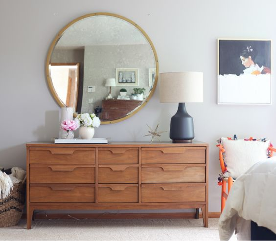 I make emily henderson cry or do i large round mirror for Mid century modern master bedroom