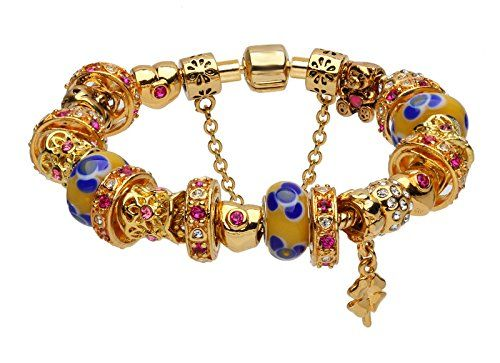 Yellow glass beads European complete charms beaded bracelets >>> To view further for this item, visit the image link.&#8217;></p> 			