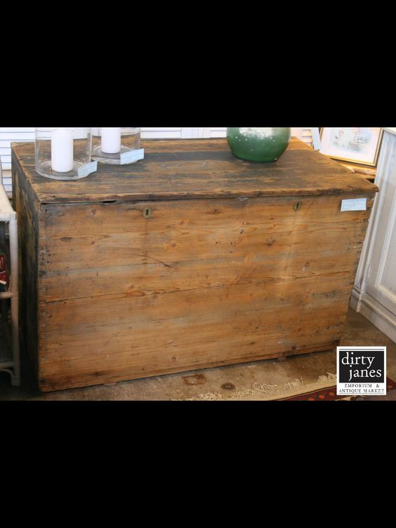 Large wooden tool box to be used as a coffee table