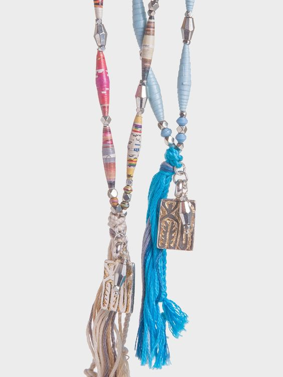 Long Paper & Stone Bead Necklace