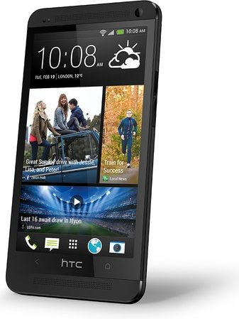 Black HTC One - side angle