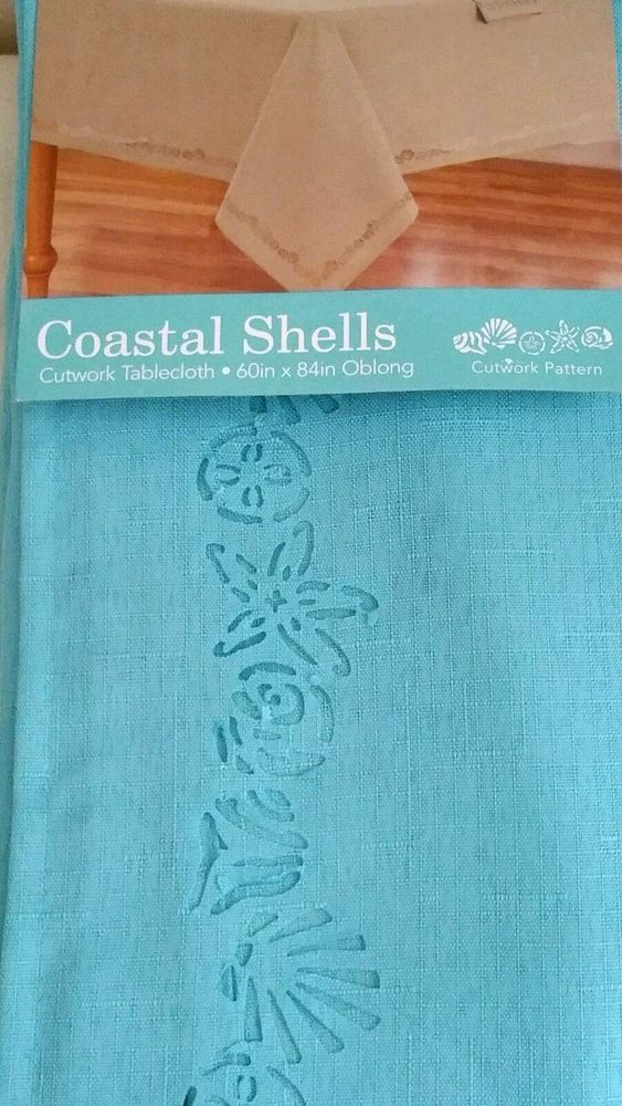 Lovely Coastal Shells Tablecloth Teal Cutwork 60x84 NEW #ElreneHomeFashions | EBAY  ALL THE WAY!!! | Pinterest | Teal, Shell And Coastal Decor