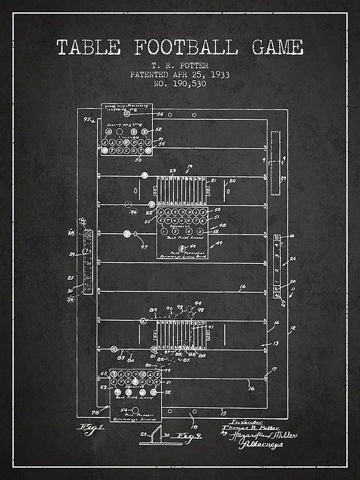 1933 Table Football Game Patent Print Patentprints Patentart Patentartprints Toys Games Agedpixel Football Table Football Patent Art Prints Football