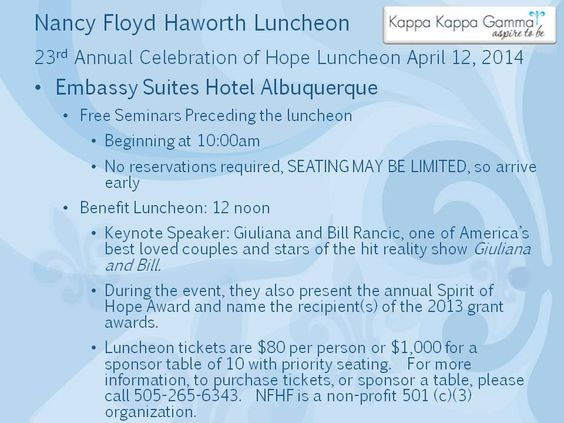Nancy Floyd Haworth Luncheon