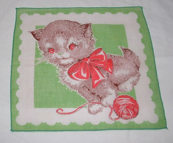 Cute Vintage Kitten Child's Handkerchief