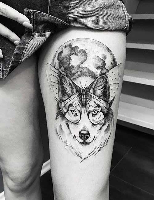Google Image Result For Https Cdn2 Stylecraze Com Wp Content Uploads 2013 06 Wolf Butterfly Tattoo Jpg In 2020 Butterfly Tattoo Lupus Tattoo Tattoos