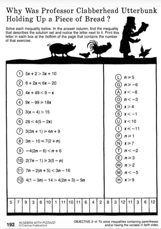 Pin On Math Inequalities worksheet 7th grade