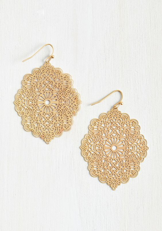 Filigree Glee Earrings. Your taste is ornamental to the core, and these dangly earrings appeal straight to your spirit! #gold #modcloth