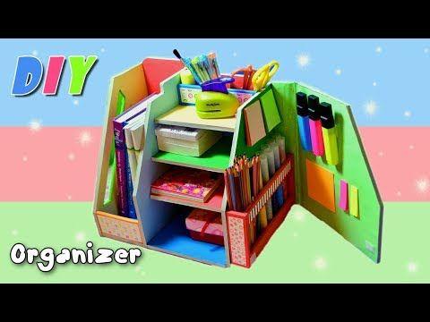 Diy Organizer Desk Cardboard Back To School Hand Made Youtube Desk Organization Diy Cardboard Organizer Cardboard Crafts