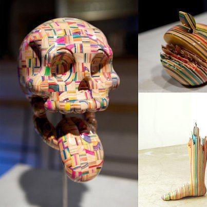 O skatista e artista japonês Harvest Haroshi constrói esculturas com uma perfeição incomum, a partir de shapes de skate quebrados.