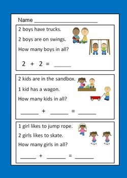 math worksheet : addition word problems within five for kindergarten  word  : Kindergarten Math Word Problems Worksheets