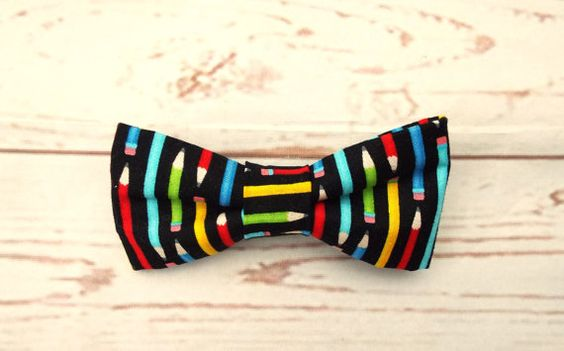 **Ready to ship**  Fun novelty pencil print bow tie  A bright designer fabric…