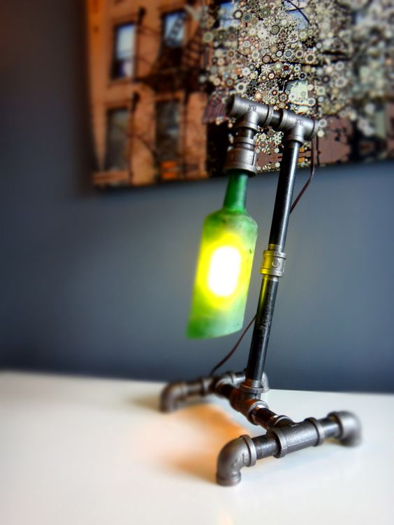 Pipe lamp whiskey bottle and industrial pipe on pinterest for Black iron pipe lights