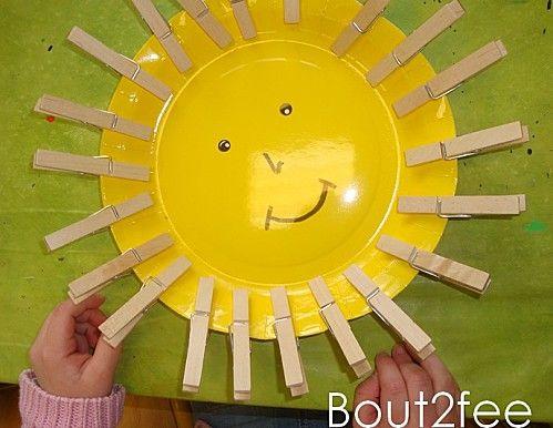 Soleil rayonnant... de pinces à linge pour exercer sa motricité fine!