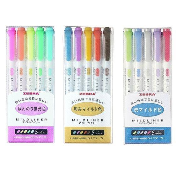 Zebra Mildliner WKT7–5C (5-Farben-Set) / WKT7–5C-RC (5-Farben-Set) / WKT7–5C-NC (5-Farben-Set): Amazon.de: Bürobedarf & Schreibwaren