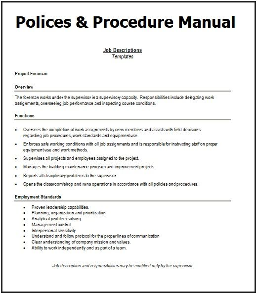 Free Company Policies And Procedures Template from i.pinimg.com