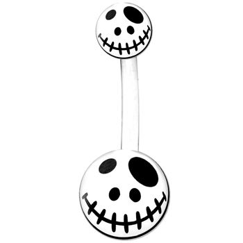 White Black Voodoo Doll Belly Ring | Body Candy Body Jewelry