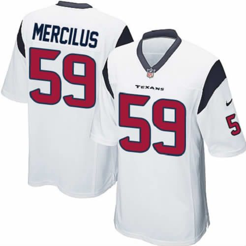 Doused in team colors and brimming with style, this Whitney Mercilus Jersey: Nike Elite Men's Houston Texans #59 Whitney Mercilus White NFL Jersey will make you look just like your favorite gridiron player. This new Nike Houston Texans jersey features zoned stretch fabric for added mobility with strategically placed ventilation panels to help keep you dry and comfortable all day long.$129.99
