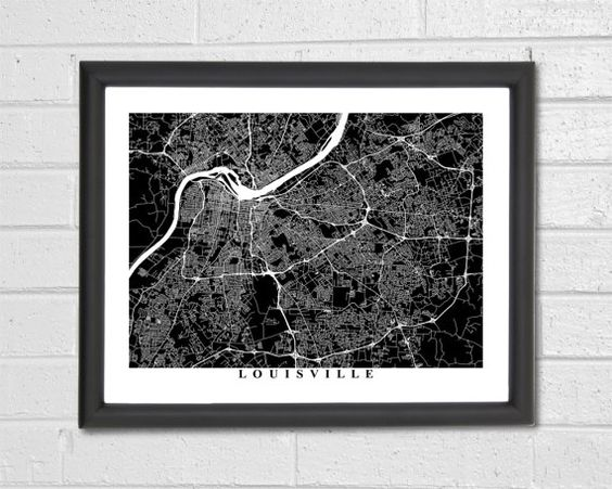 Louisville Map Art - Map Print - Black and White Print - Kentucky - Louisville Map - Graduation Gift - Wedding Gift - Engagement Gift