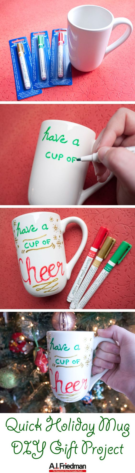 Quick Holiday Mug DIY Gift Project  - Super easy and fast gift to make when you are down to the wire with your handmade gift making! #diy #handmade #holiday #gift #christmas #mug #markers #glass #quick