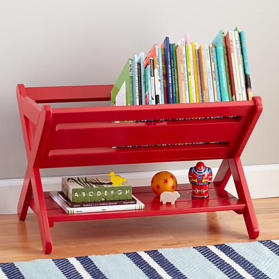 The Land of Nod | Kids Book Bins: Raspberry Red Book Caddy Bin in All Storage (available in more colors):