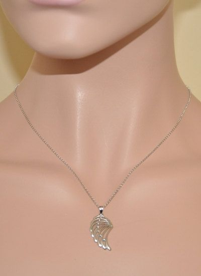 Sterling Silver Angel Wing Necklace by SterlingWorld on Etsy