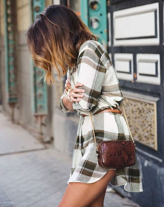 Street-Style-Plaid-Dress-Snake-Print-Bag